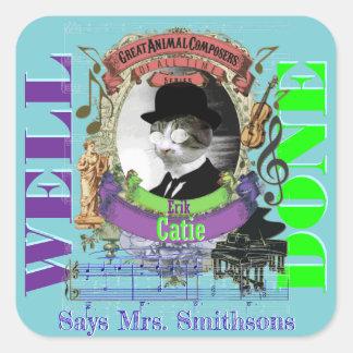 ピアノの教師の報酬のステッカーのエリックCatie Satie猫 スクエアシール