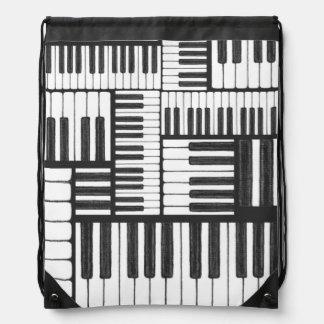 ピアノは白黒バッグを調整します ナップサック