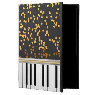ピアノは金ゴールドの水玉模様パターンを調整します POWIS iPad AIR 2 ケース
