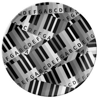 ピアノは黒およびWhitePpatternを調整します 磁器プレート