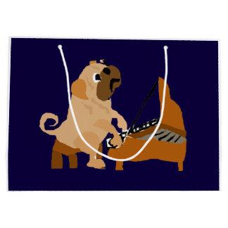 ピアノを遊んでいるおもしろいなパグ犬 ラージペーパーバッグ