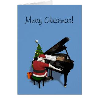 ピアノを遊んでいるサンタクロース カード