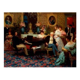 ピアノを遊んでいるショパン ポストカード