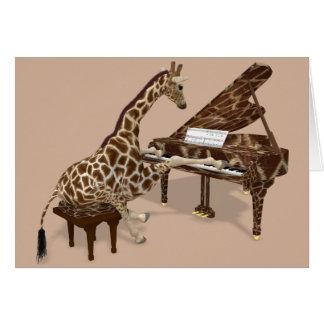 ピアノを遊んでいる甘いキリン グリーティングカード
