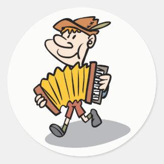 ピアノアコーディオンプレーヤーのステッカー、音楽楽器 ラウンドシール