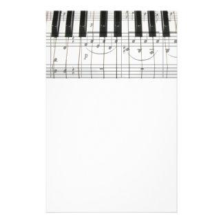 ピアノキーボードおよび音楽ノート 便箋