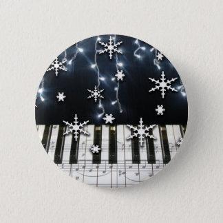 ピアノクリスマスの雪片のキーボード 缶バッジ