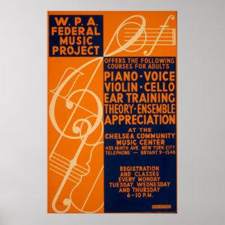 ピアノバイオリンのクラスの1939年のヴィンテージWPAポスター ポスター