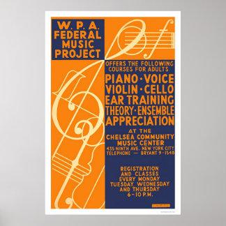 ピアノバイオリンのクラス1939 WPA ポスター