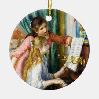 ピアノピエールAugusteルノアールの絵を描くことの女の子 セラミックオーナメント