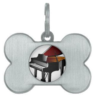 ピアノ光沢の黒 ペットネームタグ