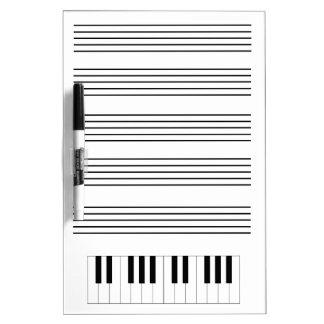 ピアノ及びスタッフのホワイトボード ホワイトボード