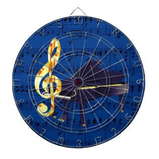 ピアノ及び金ゴールドのト音記号のロイヤルブルーの楽譜 ダーツボード