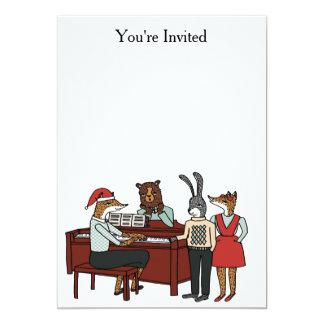 ピアノ招待状のまわりのクリスマスのキャロル カード