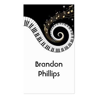 ピアノ鍵および金ゴールド音楽ノートの名刺