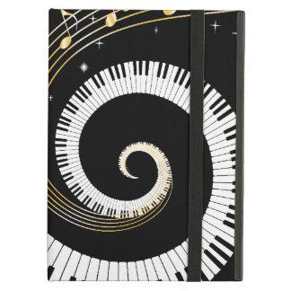ピアノ鍵および金ゴールド音楽ノート iPad AIRケース