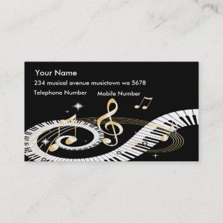 ピアノ鍵および金音楽ノート 名刺