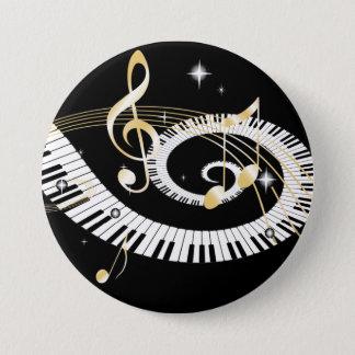 ピアノ鍵および金音楽ノート 7.6CM 丸型バッジ