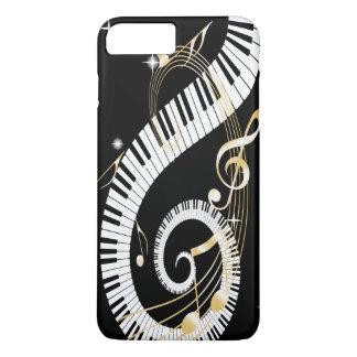 ピアノ鍵および金音楽ノート iPhone 8 PLUS/7 PLUSケース