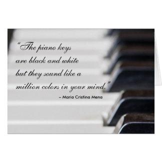 ピアノ鍵の引用文 グリーティングカード