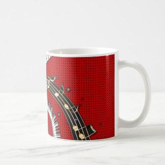 ピアノ鍵音楽ノートのグランジな花柄の渦巻 コーヒーマグカップ