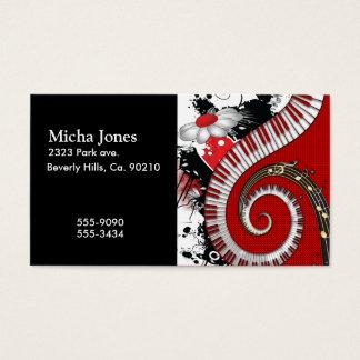 ピアノ鍵音楽ノートのグランジな花柄の渦巻 名刺