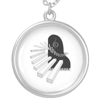 ピアノ音楽 シルバープレートネックレス