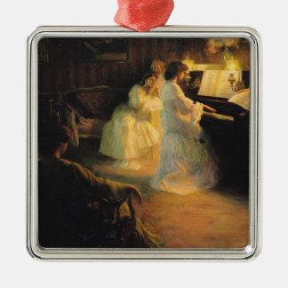 ピアノ1906年の若い女の子 メタルオーナメント