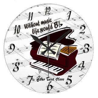 ピアノ-音楽生命なしに… Bの平らな柱時計 ラージ壁時計