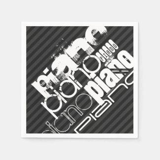 ピアノ; 黒及びダークグレーは縞で飾ります スタンダードカクテルナプキン