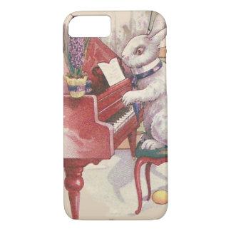 ピアノHyacinthを遊ぶイースターのウサギ iPhone 8/7ケース