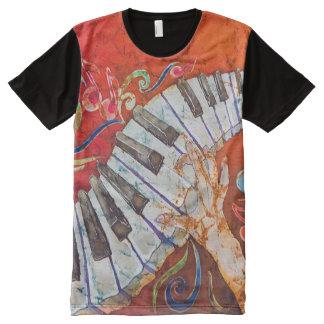 ピアノTシャツをくまなく熱狂するな密告者 オールオーバープリントT シャツ
