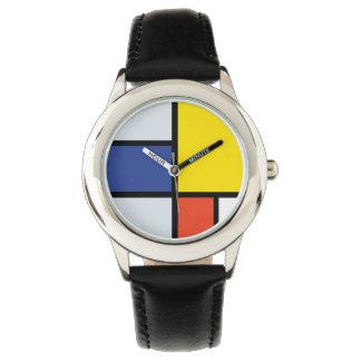 ピエト・モンドリアンの構成A -抽象的な近代美術 腕時計