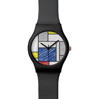 ピエト・モンドリアンMinimalist De Stijl Scribblesの腕時計 腕時計