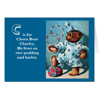 ピエロくまCharley -手紙C -ヴィンテージのテディー・ベア カード