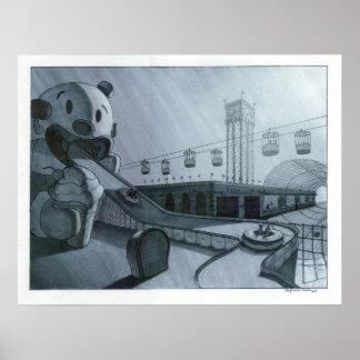 ピエロの乗車のプリント ポスター