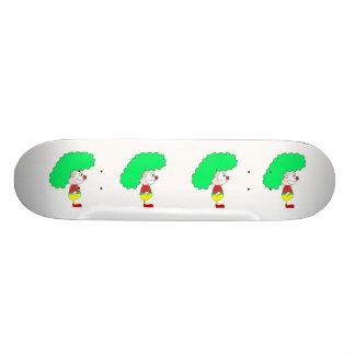 ピエロの漫画。 黄色、赤および緑 カスタムスケートボード