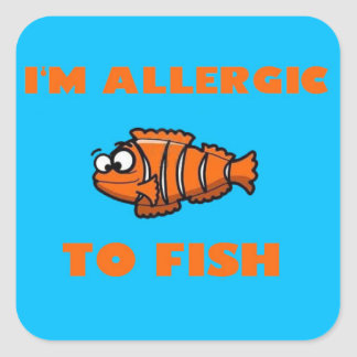 ピエロの魚のアレルギー警報ステッカー スクエアシール