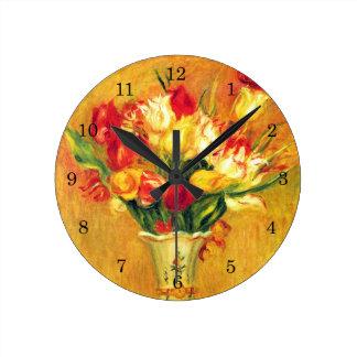 ピエールルノアールのヴィンテージの印象主義の芸術著チューリップ ラウンド壁時計