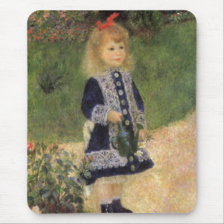 ピエールルノアール著じょうろを持つ女の子 マウスパッド