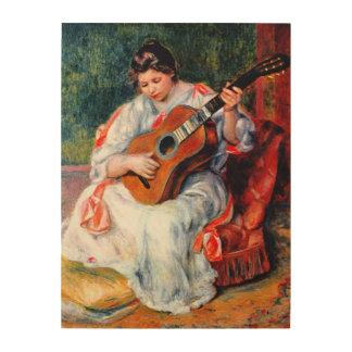 ピエールルノアール著ギターを演奏している女性 ウッドウォールアート