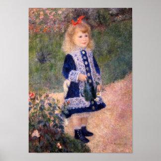 ピエールルノアール著Aのじょうろを持つ女の子 ポスター