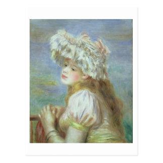 ピエールレースの帽子のルノアール|の若い女性 ポストカード
