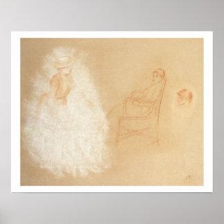 ピエール女性のルノアール|の勉強 ポスター