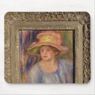 ピエール帽子を持つルノアール|の女性 マウスパッド