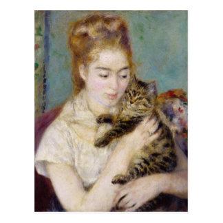 ピエール猫を持つルノアール の女性 ポストカード