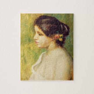 ピエール耳の花を持つルノアール|の若い女性 ジグソーパズル