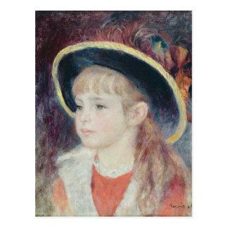 ピエール青い帽子のルノアール|の若い女の子 ポストカード
