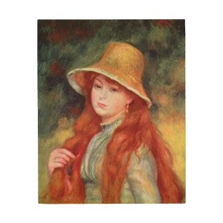 ピエール麦わら帽子のルノアール|の若い女の子 ウッドウォールアート