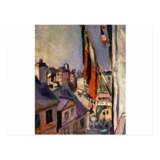 ピエール=オーギュスト・ルノワール著旗によって飾られる通り ポストカード